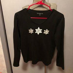 Liz Chairborne winter embellished top size M